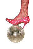Party time. Stylish football - feminine leg on a mirror ball stock photos