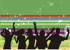 Party time. Computer generated background with people dancing royalty free illustration
