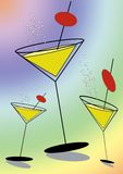 Party time. Stylised martini glasses on rainbow colored background Royalty Free Stock Photo