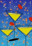 Party time. Stylised martini glasses on star spangled background Stock Images