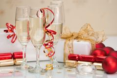 Party Time. At Christmas with champagne and decorations stock images