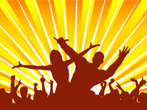 Party time. Silhouettes of people dancing Stock Photo