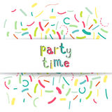 Party time banner. Colorful banner design with confetti and party time text. Vector illustration Stock Photography