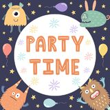 Party Time card / print with cute monsters. Royalty Free Stock Image