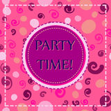 Party time card template. Pink elements texture. Hand drawn party time on violet lable for flyer, invitation, banner. Flyer Party time card template. Pink Stock Images