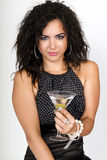 Party time female holding a martini cocktail stock image