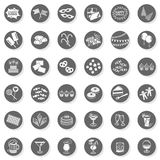 36 party time fun monochrome button set. 36 party time fun sweets drinks celebration monochrome isolated gray flat icon set with light shadow on white background Royalty Free Stock Photography