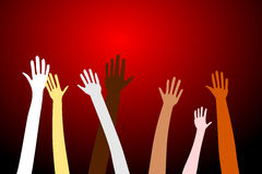 Party time. Hands in the air for concepts like fun, concerts, parties, teamwork and diversity - each hand is a different design Royalty Free Stock Photos