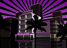 Party Time Hotel & Bar. Flyer Music Illustration, Hotel and Bar Royalty Free Stock Image