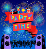 Party time lettering on banner. Disco clud poster with loudspick Royalty Free Stock Photo