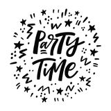 Party Time lettering poster. Black and white greeting card. Vector illustration Stock Images