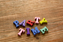Party time  letters   on   wood Stock Photos