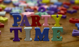Party time  letters   on   wood Royalty Free Stock Image