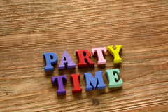 Party time  letters   on   wood Stock Images