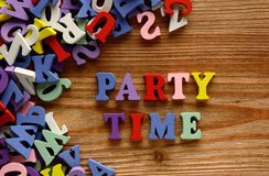 Party time  letters   on   wood Royalty Free Stock Photo