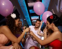 Party time in limo Royalty Free Stock Photography