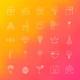 Party Time Line Icons. Vector Set of Outline Birthday Celebration Items over Blurred Background Royalty Free Stock Photos