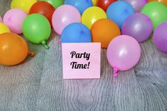 Party Time  Message with Colorful  Balloons Stock Image