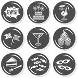 Party time monochrome button set Royalty Free Stock Photo