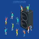 Party time music show dancing speaker flat isometric vector 3d. Party time music show flat 3d isometry isometric concept web vector illustration. Micro joyful Royalty Free Illustration