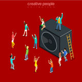 Party time music show speaker dancing flat isometric vector 3d. Party time music show flat 3d isometry isometric concept web vector illustration. Micro joyful Royalty Free Illustration