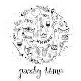 Party time poster. Concept. Concept for party  invitations design. Hand drawn doodle illustration with drinks and snacks. Celebration Stock Photography