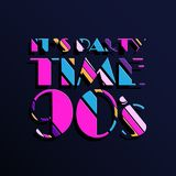 Party time The 90s style label. Vector illustration. Stock Photography