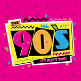 Party time The 90`s style label. Vector illustration. Party time The 90`s style label. Vector illustration retro background Stock Photo
