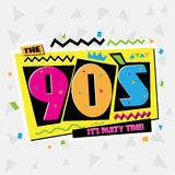 Party time The 90`s style label. Vector illustration. Stock Image