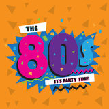 Party time The 80 s style label. Vector illustration. Royalty Free Stock Photo