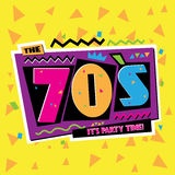 Party time The 70 s style label. Vector illustration. Stock Image