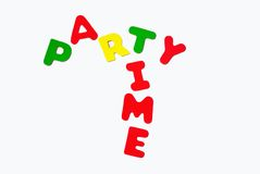 Party time sign. A colorful sign to use for any celebration stock image