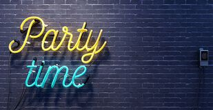 Party time sign on black brick wall background. 3D Rendering royalty free stock image