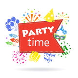Party time sign Holiday celebration emblem. Party time signParty time sign Holiday celebration emblem vector illutration Royalty Free Stock Photos