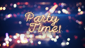 Party time sparkler text and city bokeh lights Stock Images