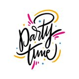 Party Time summer phrase. Hand drawn vector lettering quote. Isolated on white background. Design for holiday greeting cards, logo, sticker, banner, poster vector illustration
