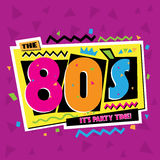 Party Time The 80 S Style Label. Vector Illustration. Royalty Free Stock Image