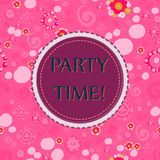Party time Vector seamless pattern with hand drawn Doodle elements - spots, dots, spirals, flowers. Festive background. Pink Color Party time Vector seamless Stock Photo