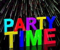 Party Time Word With Fireworks. Showing Clubbing Nightlife Or Discos stock illustration