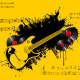 Party Tonight. Illustration of party poster with guitar and cheering crowd Stock Image