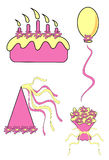 Party tools. A set for party: baloon, cake with candles, hat and flowers Royalty Free Stock Photos