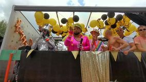 Party trailer with people dressed up and partying, Gay pride parade Antwerp, 10 August, 2019, Antwerpen, Belgium