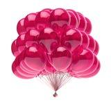 Party translúcido brilhante da decoração do aniversário do rosa do grupo dos balões Ilustração Stock