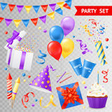 Party Transparent Set. Colorful objects for parties and holidays set  on transparent background flat vector illustration Stock Photo