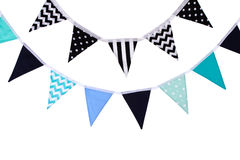 Party triangle bunting flags hanging on the rope. Stock Photos