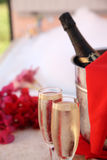 Party for two. 2 glass of champagne in luxus ambient Royalty Free Stock Images