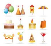 Party- und Feiertagsikonen Lizenzfreies Stockbild