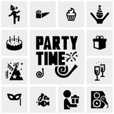 Party vector icons set on gray Stock Image