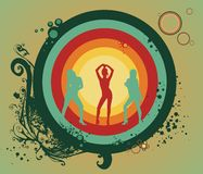 Party vector illustration. Three women silhouettes dancing on abstract background Stock Image