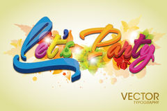 Party Vector Typography. Lets party typography to be used on flyer and banner design Royalty Free Stock Photography